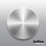 Template of round button with metal or aluminium chrome texture. Template of round button with metal chrome texture isolated on gray scale background royalty free illustration