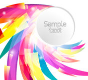 Template Round frame with abstract rainbow colored petals. Vector element for your design Royalty Free Stock Image