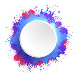 Template round frame with colorful watercolor splashes. Stock Image