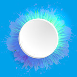 Template round frame with watercolor splashes and grass Royalty Free Stock Photography