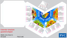 Template russian calendar 2018 by seasons pyramid shaped. Vector background Stock Photo