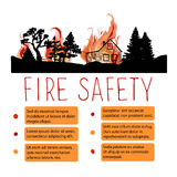 Template of safety from wildfire vector placard Stock Images