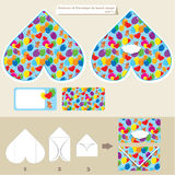 Template and scheme of envelope in heart shape. Royalty Free Stock Images