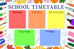 Template of the school or student`s schedule. Vector illustration. stock illustration