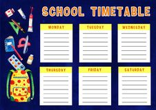 Template of school timetable with days of week and free spaces for notes. Hand drawn watercolor Illustration with cartoon backpack. And school supplies on blue royalty free illustration