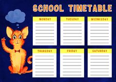 Template of school timetable with days of week and free spaces for notes with cartoon cat. Template of school timetable with days of week and free spaces for royalty free illustration