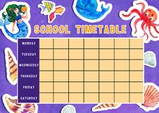 Template of school timetable with days of week and free spaces for notes. Hand drawn watercolor Illustration with sea animals. Template of school timetable with royalty free illustration