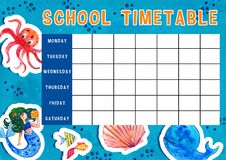 Template of school timetable with days of week and free spaces for notes. Hand drawn watercolor Illustration with sea animals. Template of school timetable with stock illustration