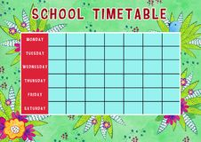 Template of school timetable with days of week and free spaces for notes. Hand drawn watercolor Illustration with flowers. Template of school timetable with days royalty free illustration