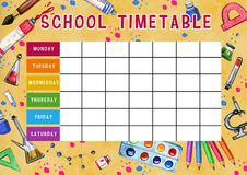 Template of school timetable with days of week and free spaces for notes. Hand drawn watercolor Illustration with school supplies. On yellow textured background stock illustration