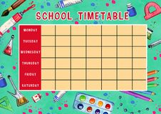 Template of school timetable with days of week and free spaces for notes. Hand drawn watercolor Illustration with school supplies. On green textured background royalty free illustration
