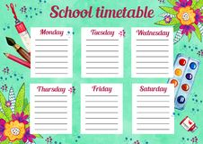 Template of school timetable with days of week and free spaces for notes. Hand drawn watercolor Illustration with schools supplies. And flowers on green royalty free illustration