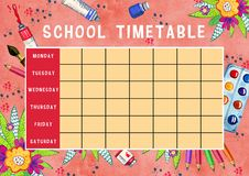 Template of school timetable with days of week and free spaces for notes. Hand drawn watercolor Illustration with schools supplies. And flowers on pink vector illustration
