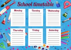 Template of school timetable with days of week and free spaces for notes. Hand drawn watercolor Illustration with school supplies. On blue textured background vector illustration