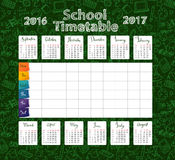 Template school timetable 2016-2017. Template school timetable lessons and calendar 2016-2017  for students or pupils with days of week and free spaces  for Stock Photos