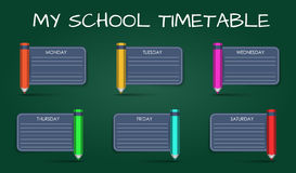 Template daily school timetable Royalty Free Stock Image