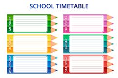 Template school timetable for students or pupils with days of week and free spaces for notes. Vector illustration. Template school timetable for students or royalty free illustration