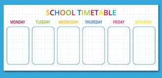Template school timetable for students or pupils with days of week and free spaces for notes. Vector illustration. Template school timetable for students or stock illustration