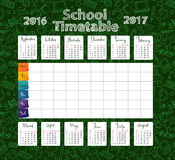 Template school timetable 2016-2017 Royalty Free Stock Images