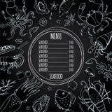 Template seafood menu, great for restaurants, menu, websites. Blackboard background, stock vector illustration Stock Images