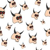 Template of seamless pattern with horned skulls. Concept of Halloween illustration. Stock Photography