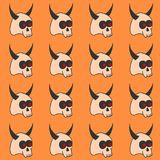Template of seamless pattern with horned skulls. Concept of Halloween ilustration. Royalty Free Stock Photography