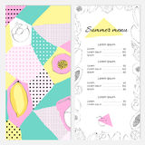 Template seasonal menu of the restaurant or cafe. In the style of a collage Royalty Free Stock Photos