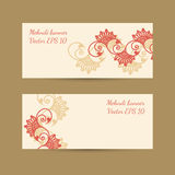 Template set with bright decorative mehndi design for banners Royalty Free Stock Image