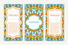 Template set of cards. Ornamental borders and patterned background. Mandala. Frame for greeting card or wedding invitation. Vector. Illustration Royalty Free Stock Photo