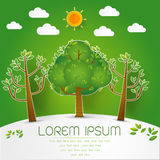 Template Set of Green Forest, trees and bushes pop up paper cut Stock Images