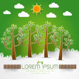 Template Set of Green Forest, trees and bushes pop up paper cut Stock Photo