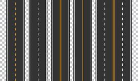 Free Template Set Of Straight Asphalt Roads. Seamless Road Background. Vector EPS 10 Royalty Free Stock Image - 108539846
