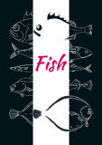 Template with set of sea fish on black background. Vector sketch royalty free illustration