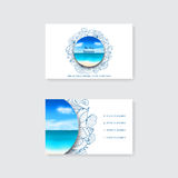 Template of simple business card with decorative ornament, starfish and seashells Stock Photo