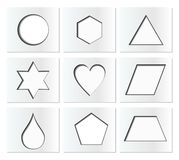 Template for simple geometric shapes with inner shadow - circle, hexagon, triangle, star, heart, drop, pentagon, trapezoid, rhombo Royalty Free Stock Photo