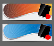 Template for smart phone and mobile phone banner Royalty Free Stock Photography