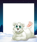 Template with smiling polar bear at bottom Royalty Free Stock Photography