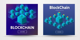 Template for a social media vector banner with an isometric illu. Stration of a blockchaine   technology with binary code. Design for the web in text and buttons Royalty Free Stock Photos