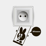 Template socket and switch creative design with funny rabbit Royalty Free Stock Photography