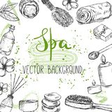 Template with hand drawn beauty and spa related products and objects and place for text stock photos