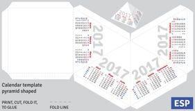 Template spanish calendar 2017 pyramid shaped. Vector Royalty Free Stock Photo