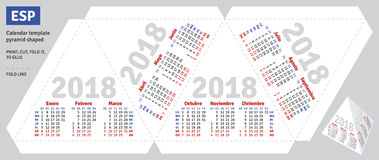Template spanish calendar 2018 pyramid shaped Stock Photography