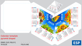Template spanish calendar 2016 by seasons pyramid shaped. Vector background stock illustration
