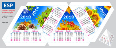 Template spanish calendar 2018 by seasons pyramid shaped Royalty Free Stock Photos