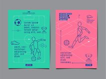 Template Sport Layout Design, Flat Design, Graphic Illustration,. Template Sport Layout Design, Flat Design, single line,  Graphic Illustration, Football, Soccer Royalty Free Stock Photography