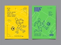 Template Sport Layout Design, Flat Design, single line,  Graphic. Illustration, Football, Soccer, Vector Illustration Stock Photography