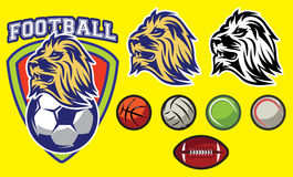 Template for sports logo with a lion head and balls Royalty Free Stock Image