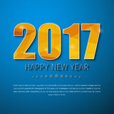 Template square banner background Happy New Year 2017. Template square blue banner with snowflakes and text. Design background with gold abstract polygonal stock illustration