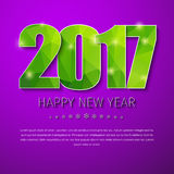 Template square banner background Happy New Year 2017. Design of New Year purple banner. Template with numbers 2017 and green abstract polygonal texture. Vector Stock Photo