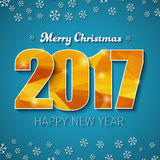 Template square banner background Happy New Year 2017. Design square web banner background Merry Christmas and Happy New Year. Template with a blue background Royalty Free Stock Images